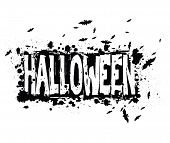 picture of swarm  - Halloween grungy silhouette background with text and swarm of bats black ink isolated on white - JPG