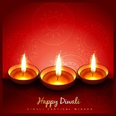 beautiful stylish diwali diya on red background