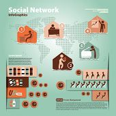 Pattern with elements of social infographic