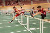 VIENNA, AUSTRIA - JANUARY 29 Philipp Siedlaczek (#176 Austria) competes in the men's 60m  hurdles ev