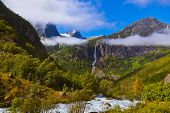 Waterfall Near Briksdal Glacier - Norway