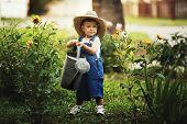 little boy watering flowers watering can
