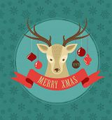 Christmas background and greeting card with hipster deer