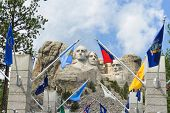 stock photo of mount rushmore national memorial  - Mount Rushmore National Monument in South Dakota - JPG