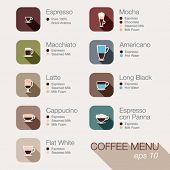 Coffee vector icon set menu. Buttons for web and apps. Coffee beverages types and preparation: espresso, mocha, macchiato, americano, latte,long black, cappucino, espresso con panna, flat white,