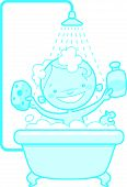 Happy cartoon baby kid in bath tub Blue version