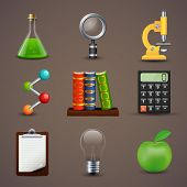 Vector illustration of icons on a theme of science