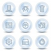 Internet security web icons, light blue glossy circle buttons