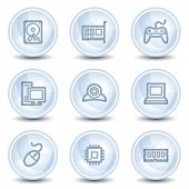Computer web icons, light blue glossy circle buttons