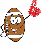American Football Ball Cartoon Character With Foam Finger