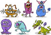 Cartoon Monsters Illustration Set
