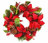 Christmas Wreath With Poinsettia On White Background