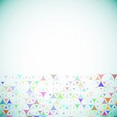 blue background with multicolored shapes bottom