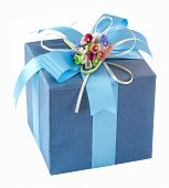 Blue Gift Box With Bow Tie