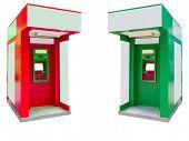 stock photo of automatic teller machine  - Close up automated teller machineATM isolated on white - JPG