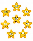 Yellow star icons with different emotions