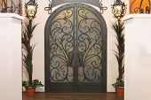 picture of arch  - Decorative double iron gate doors with arch - JPG