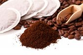Fresh Ground Coffee With Coffee Bean And Coffee Bags