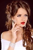 Elegant Girl With Red Lips. Beautiful Woman. Hairstyle. Makeup. Manicured Nails. Fashion Girl Isolat