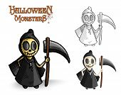 Halloween Monsters Spooky Reaper Illustration Eps10 File