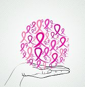 Breast Cancer Awareness Human Hand Ribbon Symbol Eps10 File.