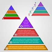 pic of pyramid shape  - Colored shapes forming a pyramid on grey background - JPG