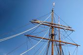 Large Mast Of An Old Sailing Ship