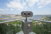 Binoculars On An Aerial Viewing Platform Over City