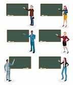 Teachers And Empty Blackboard