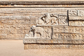 stock photo of belur  - hindu temple wall with ornate carving asia - JPG