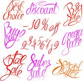 Set of hand written words Buy now!, Best choice, discount, big, mega, super, total sale, special off
