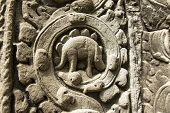 Dinosaur bas-relief in Angkor