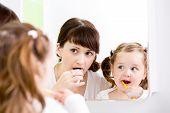 Mother Teaching Kid Teeth Brushing