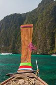Traditional longtail boat in the famous Maya bay of Phi-phi Leh island, Thailand
