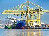Ship and cranes