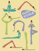 Yoga Poses - Set of hand drawn yoga poses and asanas, including Downward Facing Dog pose, Cobra, Tre