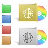 Globe and gear. Box with compact disc. Raster illustration.