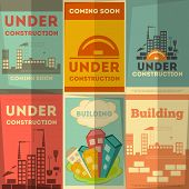 image of reconstruction  - Under Construction Posters Design in Retro Flat Style - JPG