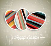 Vector retro Paper card with striped easter eggs