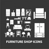 home furniture shop icons set, vector