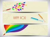 Beautiful header or banner set design with beautiful colo9urs splash coming out from pichkari on grey background.