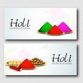 Beautiful header or banner set design with colour powder and sweets on blue background.