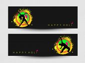 Beautiful header or banner set design with silhouette of a young girl and boy in dancing pose on shi