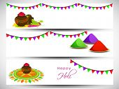 Beautiful header or banner set design with shiny colours in traditional mud pots on grey background.