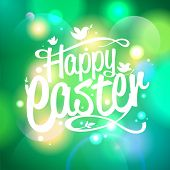 Happy Easter design on a bokeh lights background. Eps10.