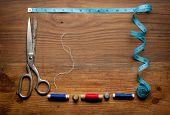 picture of sewing  - Vintage Background with sewing tools and colored tape - JPG