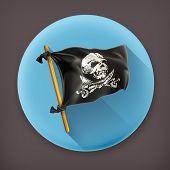 Jolly Roger long shadow vector icon