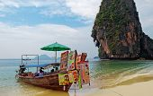 Boat Restaurant On The Railay Beach. Krabi. Thailand