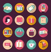 Set of flat style shopping icons