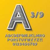 Retro Stripe Style 3/9 Alphabet And Numbers, Eps 10 Vector Editable, No Clipping Masks